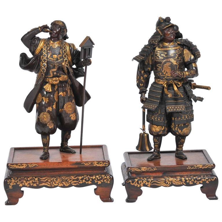 near pair of meiji period japanese bronze samurai warriors at 1stdibs