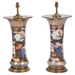 Large Pair of 18th Century Japanese Arita Vases/Lamps