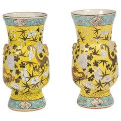 Pair of 19th Century Chinese Yellow Ground Vases