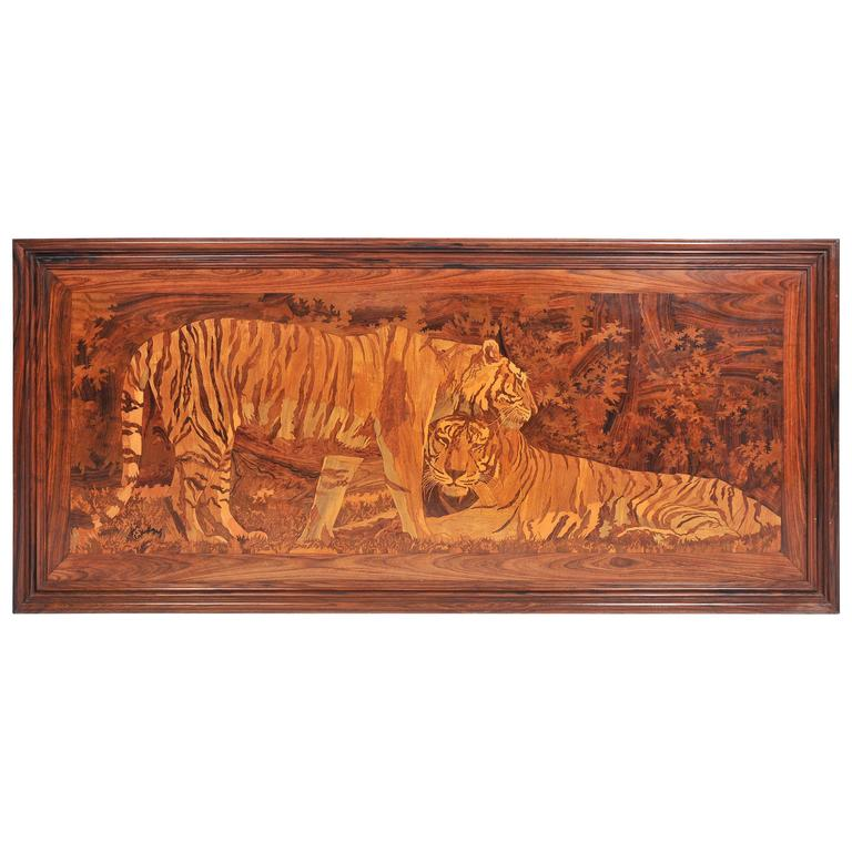 Large Art Deco Marquetry Inlaid Panel of Tigers
