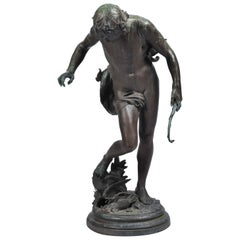 Antique Bronze Archer Sculpture, Eugene Quinton