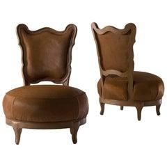 Gattone - solid walnut armchair, designed by Nigel Coates