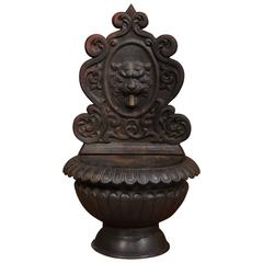 19th Century French Black Iron Fountain with Bronze Spout from the Loire Valley