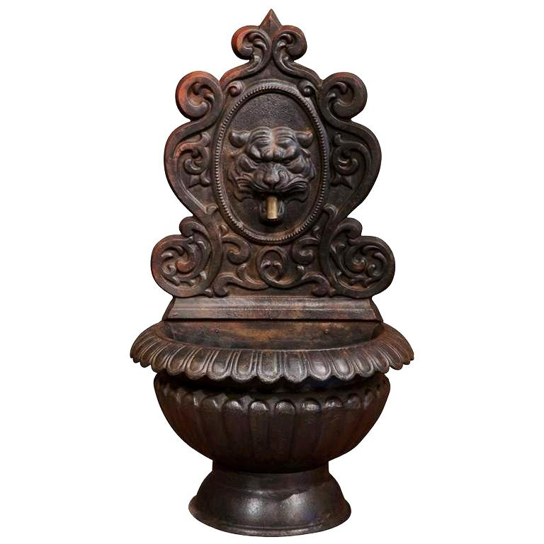 19th Century French Carved Black Cast Iron Fountain with Lion Head  For Sale
