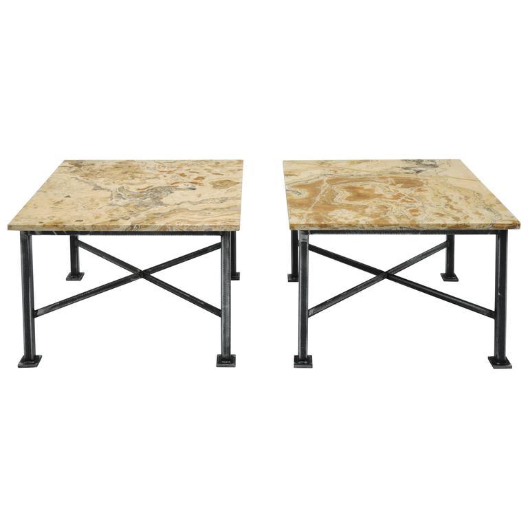 Pair of Custom Marble Tables
