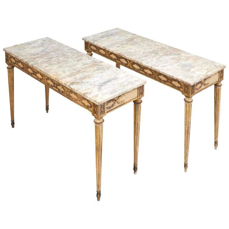 Italian Marble Top Console Tables