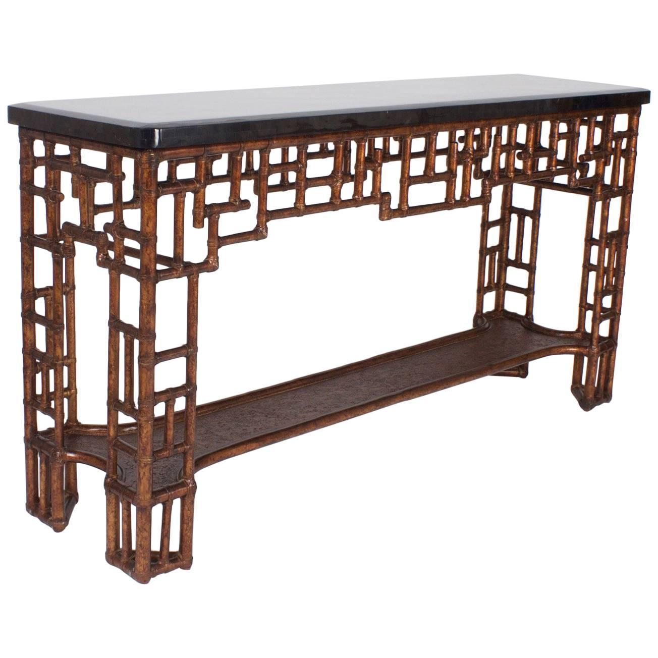 Mid Century Chinese Chippendale Style Console Table For Sale at 1stdibs