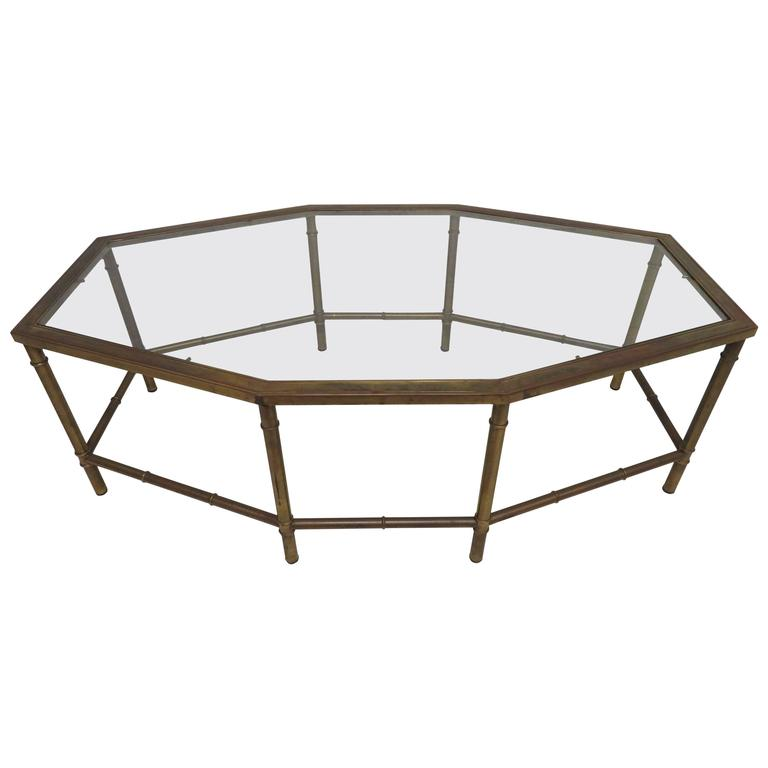 Lovely Mastercraft Brass Oval Octagon Coffee Table Hollywood Regency For  Sale