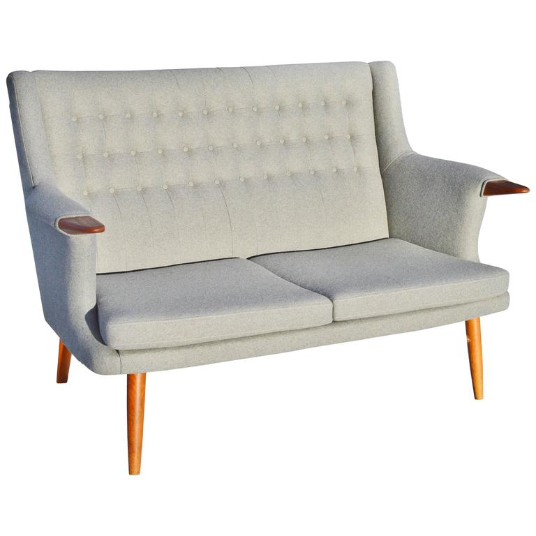 Danish Modern Button Tufted Teak Loveseat Or Settee At 1stdibs