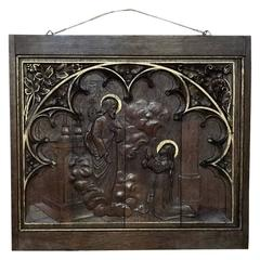 19th Century Religious Hand Carved Solid Oak Panel Depicting the Resurrection