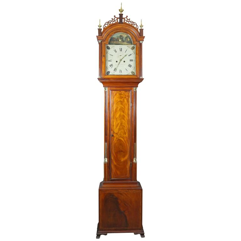Federal Mahogany Tall Case Clock by Aaron Willard