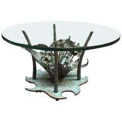 Silas Seandel Brutalist Torch Cut Brutalist Copper and Steel Floral Coffee Table