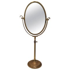 Tall and Heavy Brass Department Store Mirror from Paris, France