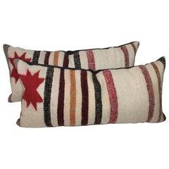 Pair of Navajo Saddle Blanket Bolster Pillows