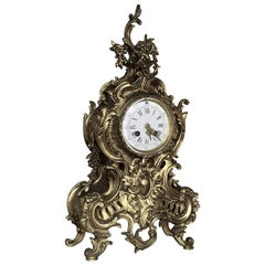 19th Century Rococo Cast Bronze Mantel Clock with Hand-Painted Enamel Dial