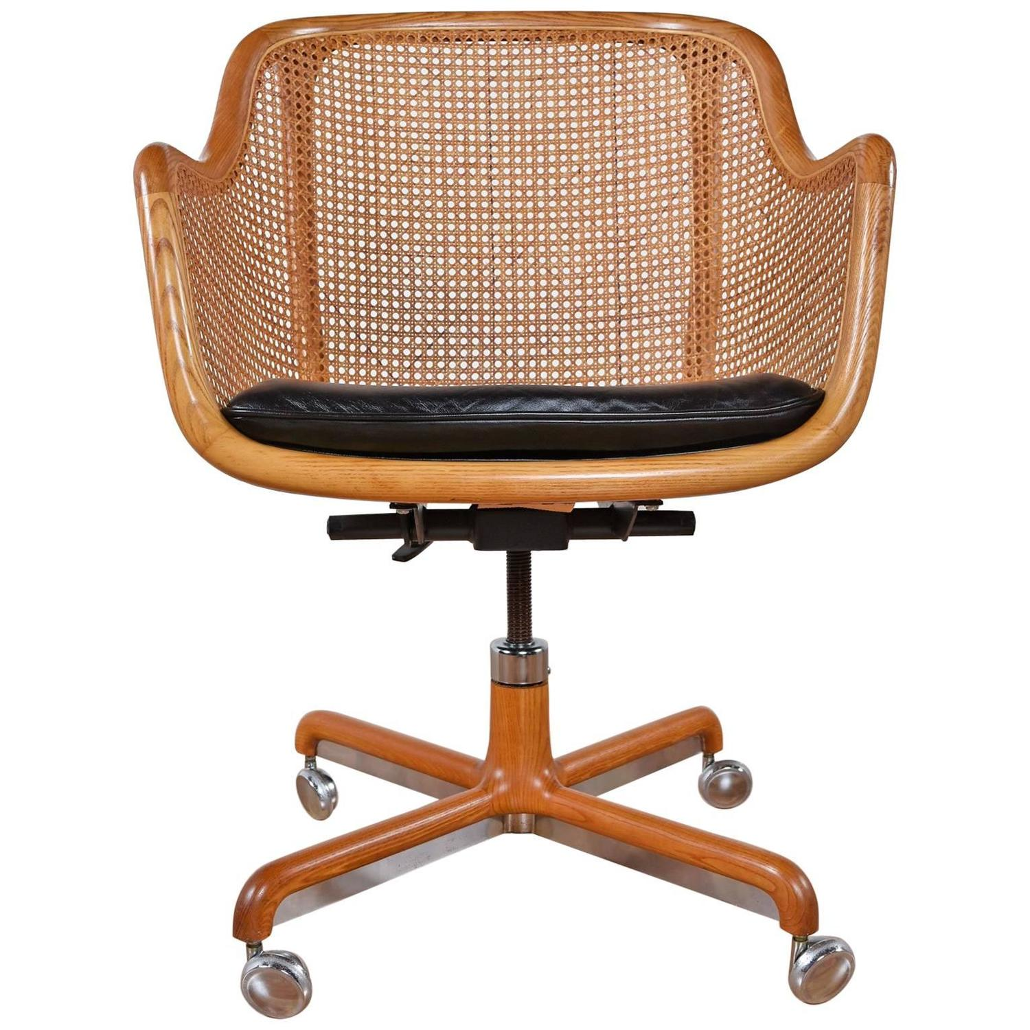Mid century modern cane swivel desk chair by ward bennett for Modern swivel chair
