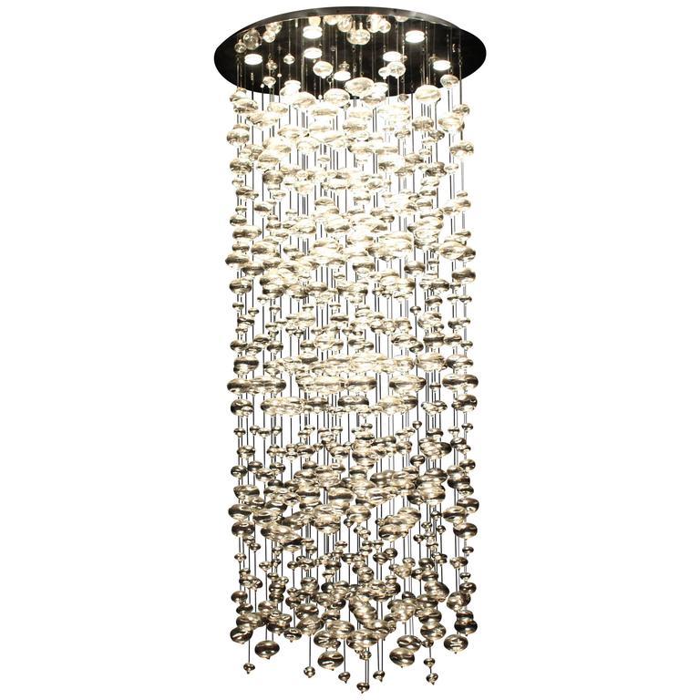 Spectacular Light Fixture Chandelier Handblown Glass Ball Prizms Rain Drop