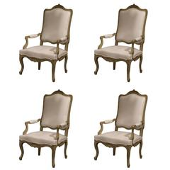 Set of Four Early 19th Century, French, Louis XV Carved Painted Armchairs