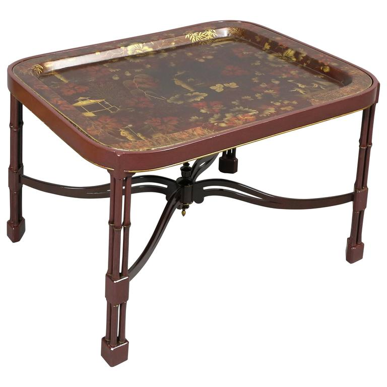 Victorian Coffee Table Set: Victorian Papier Mâchée Tray Top Chinoiserie Decorated