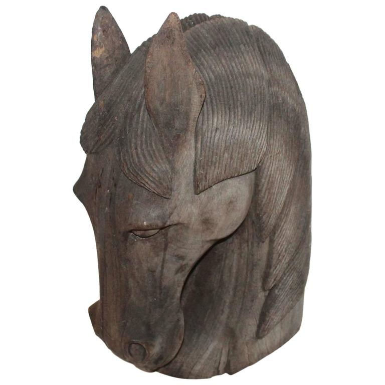 Hand-Carved Wood Horse Head For Sale