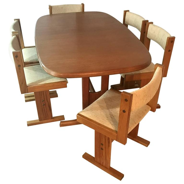 Mid-Century Danish Teak Extendable Dining Table and Six Chairs