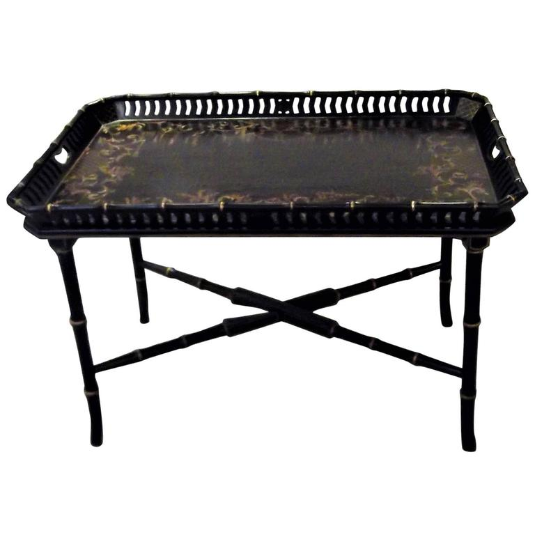 Coffee Table With Tray Top: Black Chinioserie Tray Top Coffee Table For Sale At 1stdibs