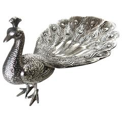 Late 19th Century American Silver Plated Peacock Figural Dish