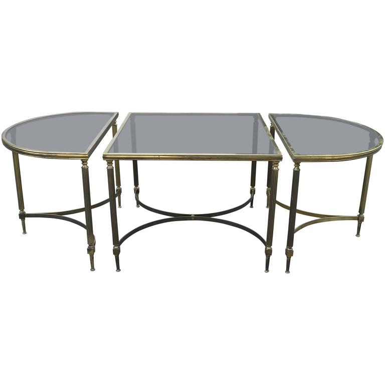 French Maison Jansen Three-Piece Cocktail Table in Brass