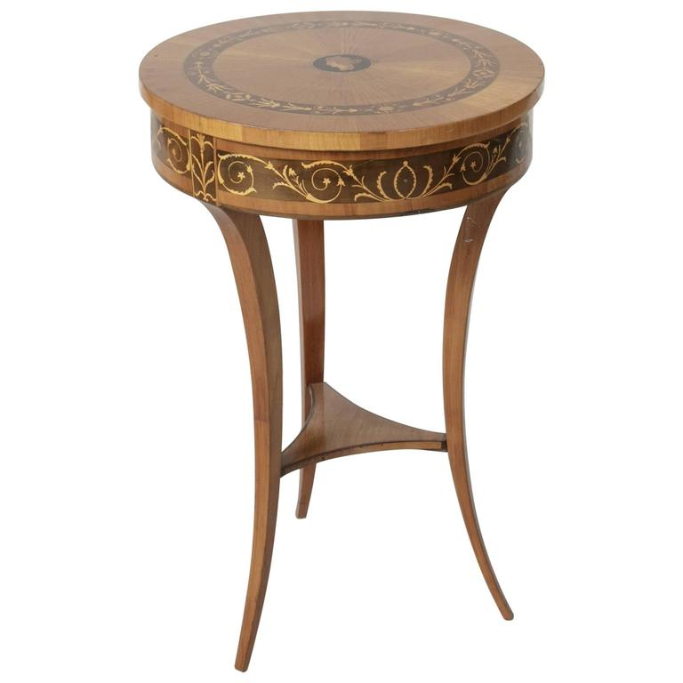19th Century Biedermeier Marquetry Vanity Table Jewelry Table Side Table