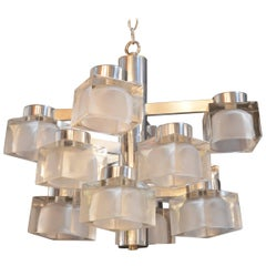 Sciolari Chrome and Frosted Glass Chandelier