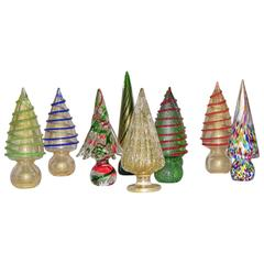 1980s Italian Vintage Colorful Murano Glass Christmas Trees Sculptures by Formia