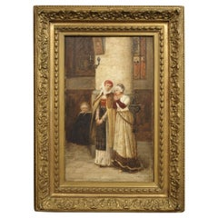 Antique French Church Painting Signed Du Mont, 19th Century
