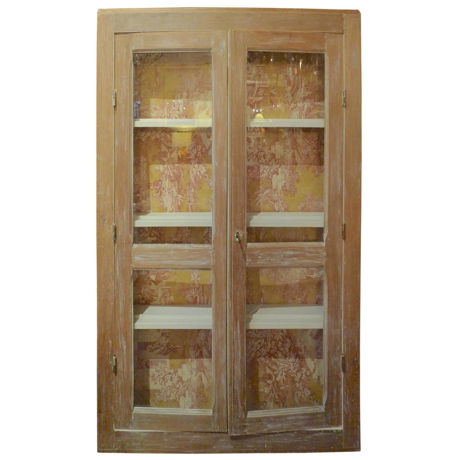 french xix narrow glass cabinet with two doors and three On narrow french doors for sale