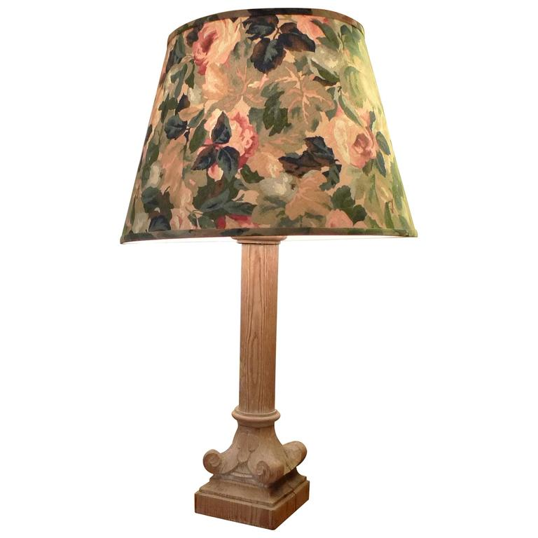 french 1930s column shaped carved wood table lamp with shade for sale. Black Bedroom Furniture Sets. Home Design Ideas