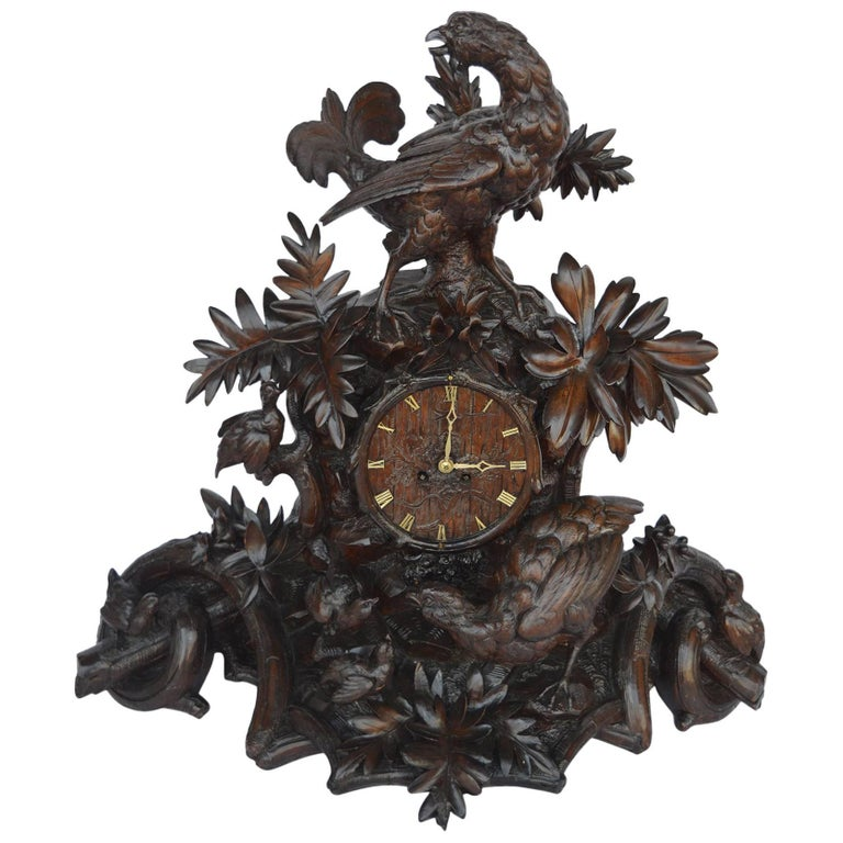 Hand-Carved Wooden Clock For Sale
