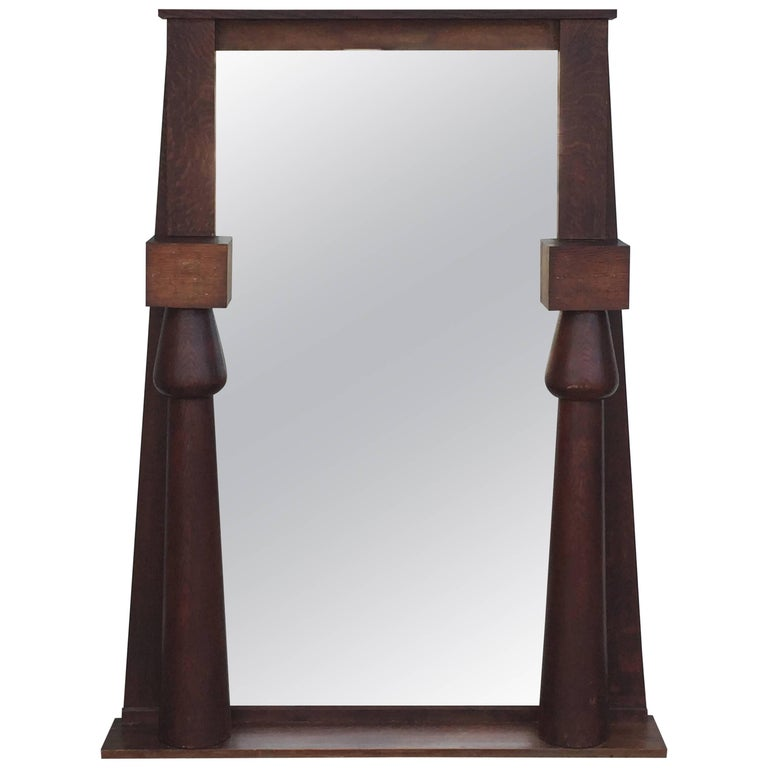 Large Egyptian Revival Arts & Crafts Stained Oak Mirror For Sale