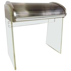 1960s Vladimir Kagan Style Lucite and Aluminum Roll Top Desk