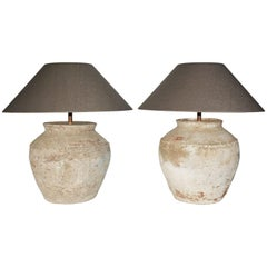 Large Antique Chinese Clayjar Lamps with Shades, Pair