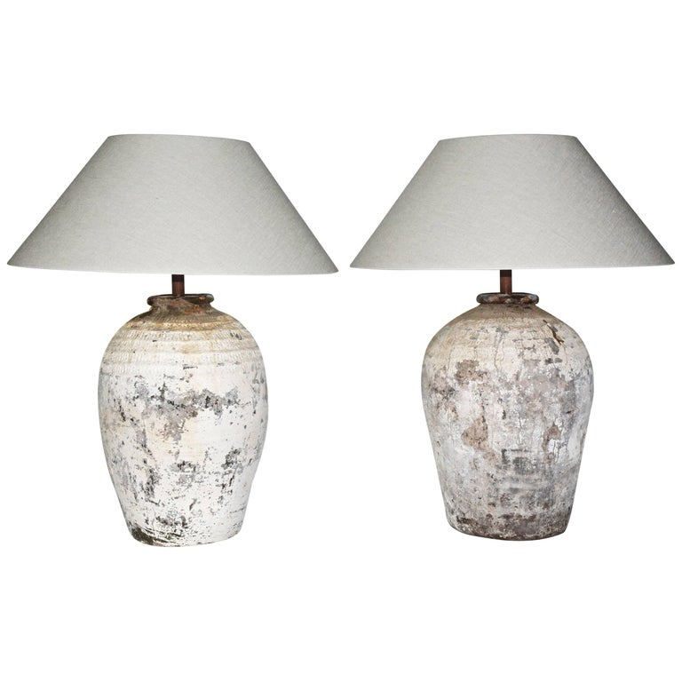 Large Chinese Storage Jar Lamps with Shades, Pair For Sale