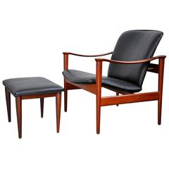 Fredrik Kayser for Vatne Møbler Teak Lounge Chair and Ottoman
