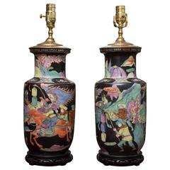 Pair of 19th Century Chinese Colorfully Painted Vases as Lamps