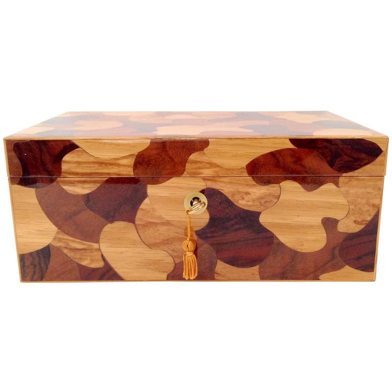 Contemporary Fine Italian Inlaid Wood Puzzle Piece Dresser Box