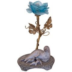 20th Century Blue Rose Sea Lion and Pups Table Lamp Designer Bronze Base