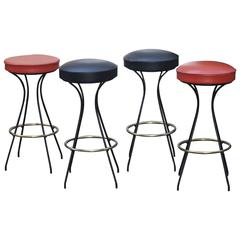 Set of Four Bar Stools, France, 1950