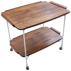 Swedish Folding Rosewood Bar Cart with Serving Tray