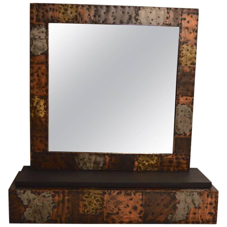 Paul Evans Brutalist Mirror and Shelf