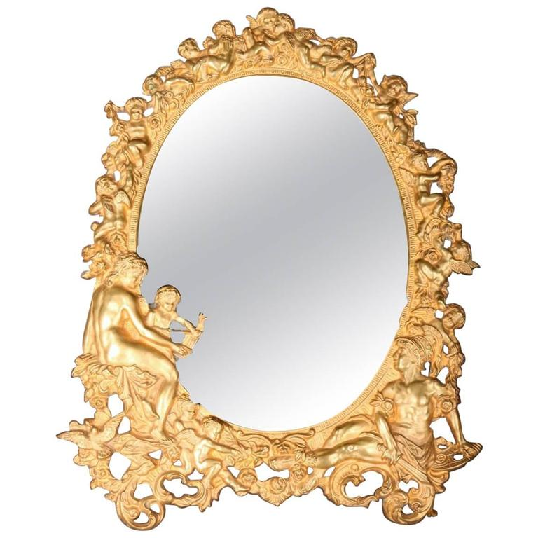 antique figural gilt bronze neoclassical cherub decorated dresser mirror 19th c 1 - Decorated Mirror