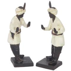 Vintage Anglo-Indian Style Cast Iron Figural Bookends