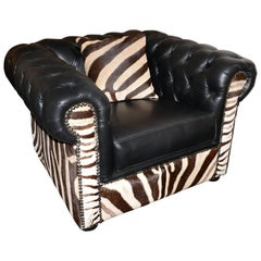 Zebra Armchair with Real Zebra Skin and Black Leather