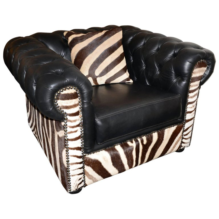 Zebra Armchair with Real Zebra Skin and Black Leather For Sale